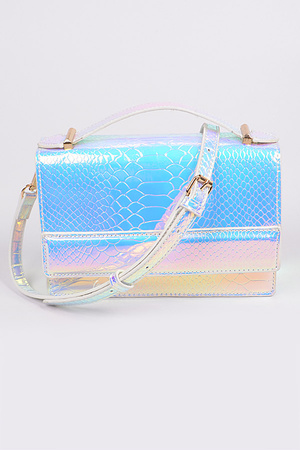 Snake Skin Shoulder Strap Clutch