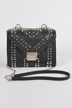 Multi Shape Studded Faux Leather Clutch