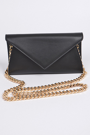 Shoulder Chain Strap Leather Clutch