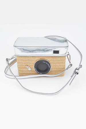 Straw Camera Basket Clutch