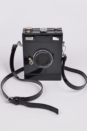 Camera Style Shoulder Strap Leather Clutch.