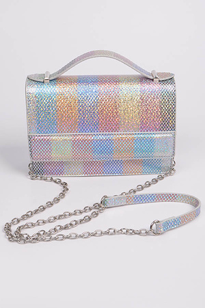 Multi Vertical Square Lined Cross Chain Body Strap Clutch