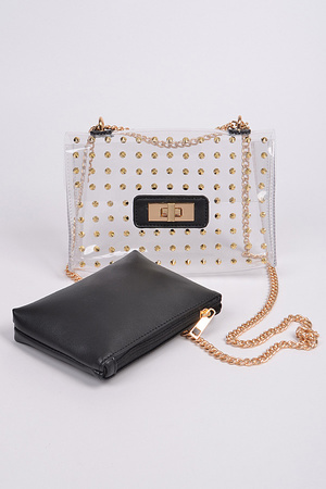 Studded Clear Clutch w/ coin wallet Set.