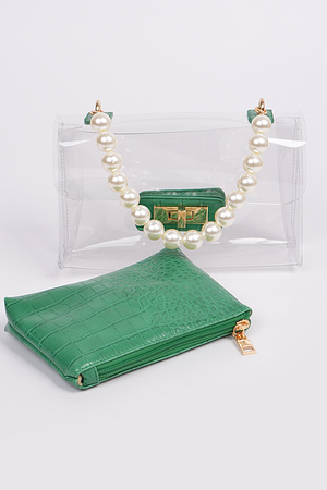 Beads Handle With Pouch And Visible Clear Clutch Set