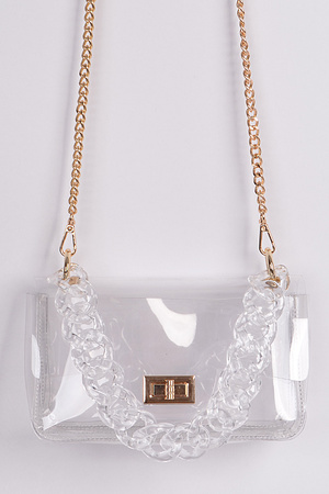 Cross Chain Body Visibly Clear Clutch