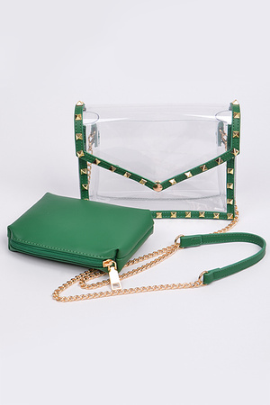 Studded Lined With Pouch And Visible Clear Clutch Set