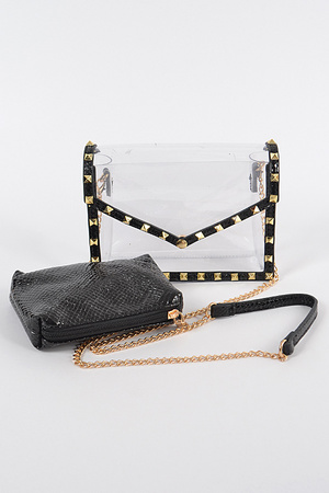 Studded Clear Clutch w/ Faux Snakeskin mini pouch.