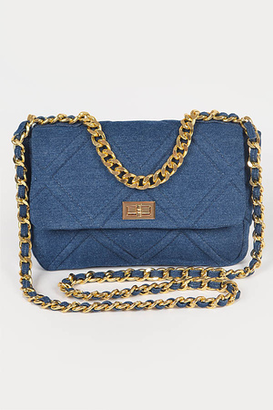 Denim Chain Handle Clutch.