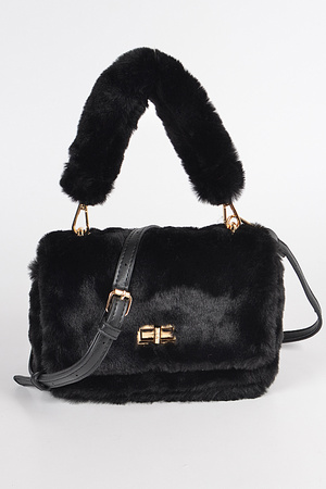 Faux Fur Clutch W/Fur Handle.