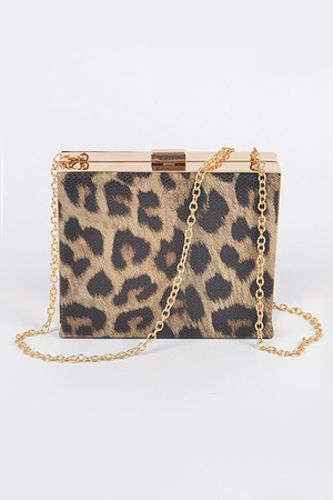 Leopard faux Leather Framed Clutch
