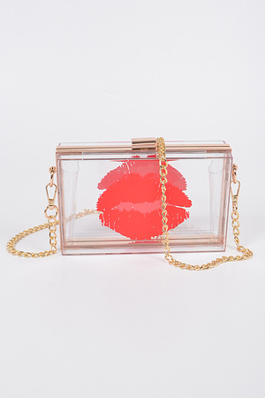 Exotic Lip Printed Plastic Case Clutch.