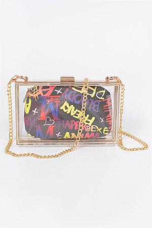 Clear Plastic Case Bag W/Graffiti Purse