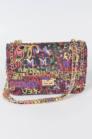 Multi Graffiti Shoulder Bag