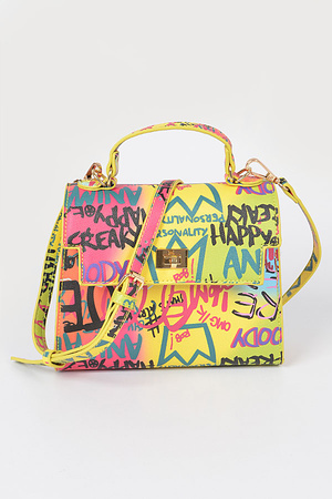 Graffiti Faux leather Crossbody Bag