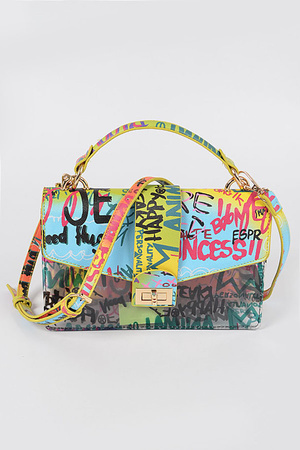 Graffiti Printed Clear Handle Bag