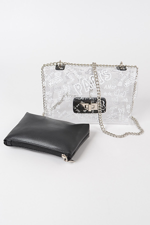 Graffiti Printed Clear Bag W/Mini bag