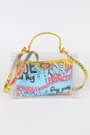 Clear Bag W/Graffiti Pouch