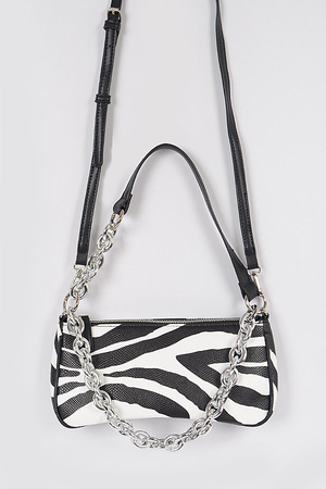 Zebra Print Simple Clutch W/Chain