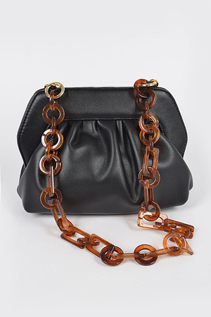 Faux Leather Clutch W/Plastic Chain