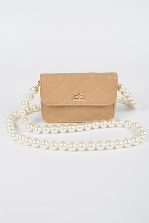 Quilted Faux Leather Clutch W/Long Pearl Strap