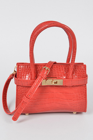 Faux Croc Double Handle Bag