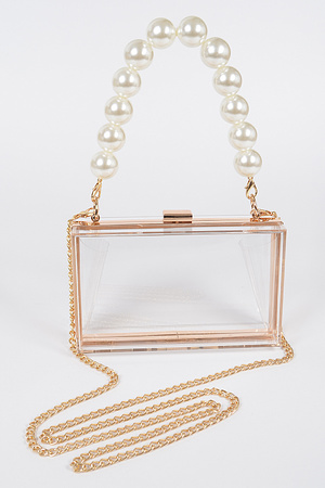 Pearl Handle Transparent Frame Clutch