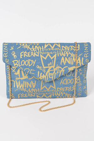 Metallic Graffiti Denim Envelope Clutch