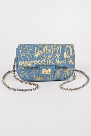 Metallic Graffiti Quilted Denim Clutch