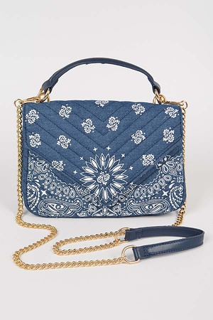 Bandana Denim Quilted Clutch