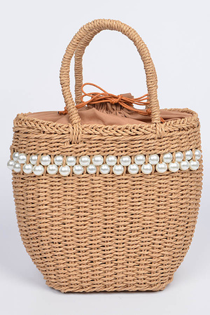 Whole Straw With Beads Attached Tote Bag