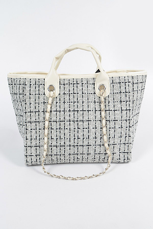 Tweed Fabric Tote Bag