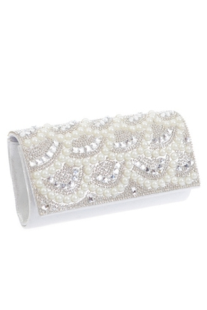 Pearl Rhinestone Mixed Design Clutch