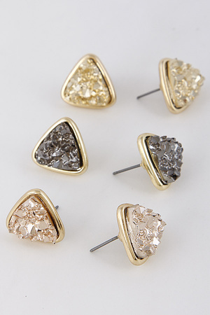 Triangle Antique Stone Earring Set 7KCA1