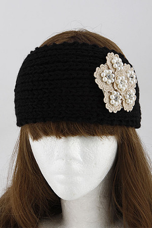 Pearl Flower on Knitted Head Band 5JAE