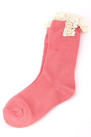 Half Long Solid Lace Button Socks 4IBC