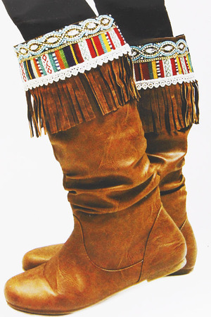 Western Style Boot Cuff with Bead and Tassel Detail 5JAL