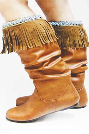 Tribal inspired Boot Cuff with Bead and Fringed Detail 5JAL
