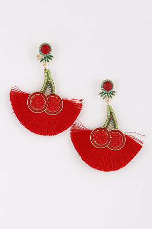 Cherry Beaded Earrings 9ACC9