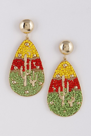 Cactus Beaded Earrings 9ACC8