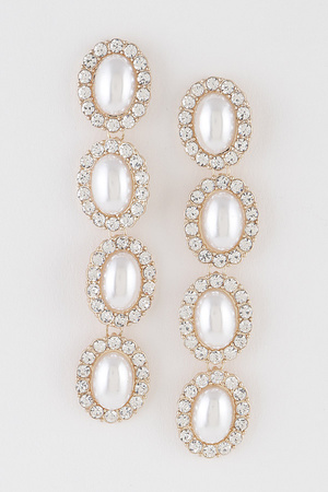 Rhinestone Pearl Beads Drop Earring