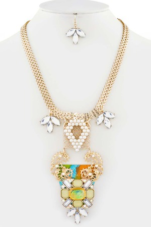 Couture floral statement necklace 3LBJ9