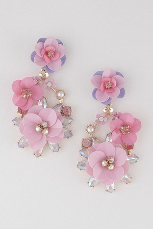 Attached Beads  Flower Drop Earring