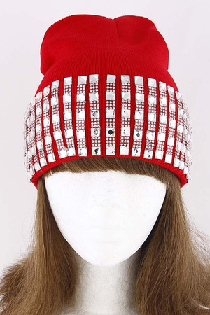 Adjustable Beanie With Rhinestones Details 8ICD