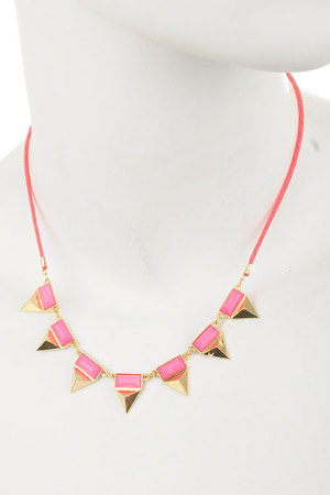 Pyramids and Acrylic Stones rope necklace-dcg3