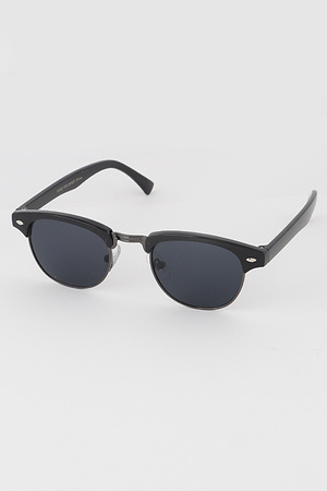 KIDS Retro Half Frame Round Sunglasses