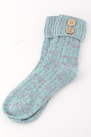 Button Detailed Mid Top Socks 4IBC