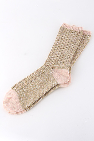 Two Tone Knitted Mid Socks 4IBC