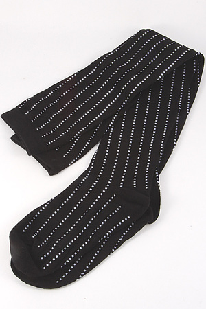 White Dot Lined Long Sock 4IBCSOCK
