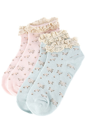 Flower Print Lace Detailed Double Ankle Sock 5CCH