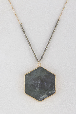 Marble Hexagon Necklace 9JAC7